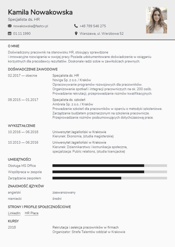 Najlepsze wzory CV. Uzupełnij wzory CV online.