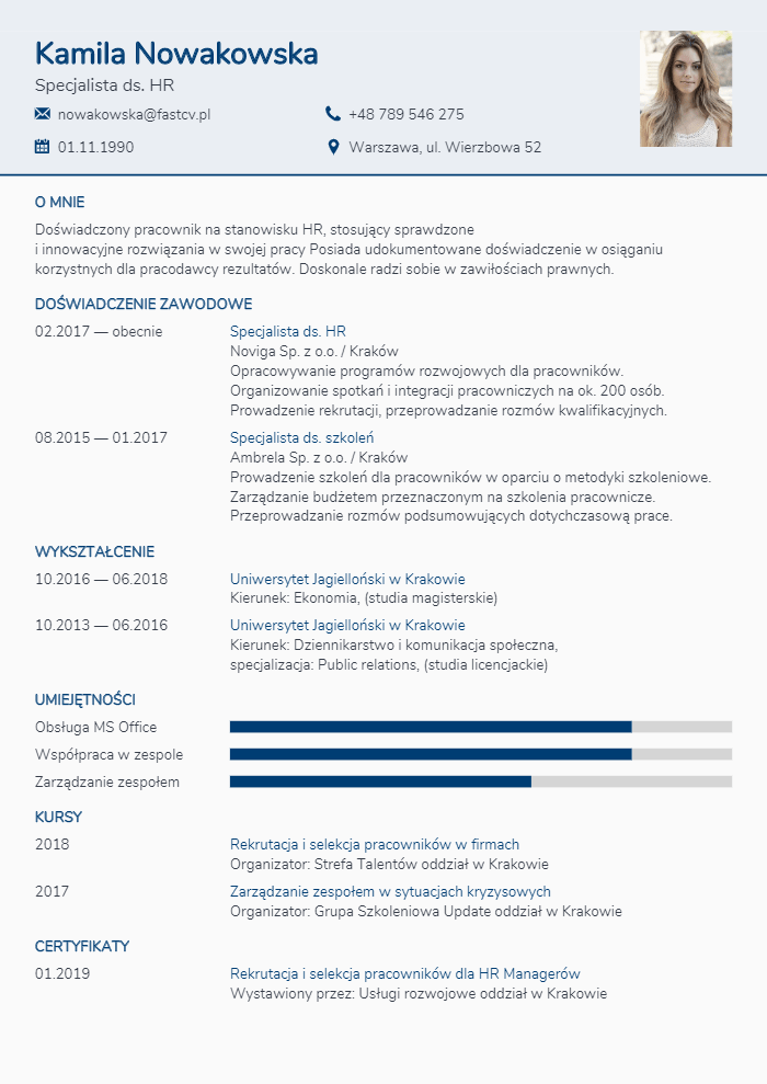 Profesjonalne szablony CV. Szablony CV do wypełnienia online.